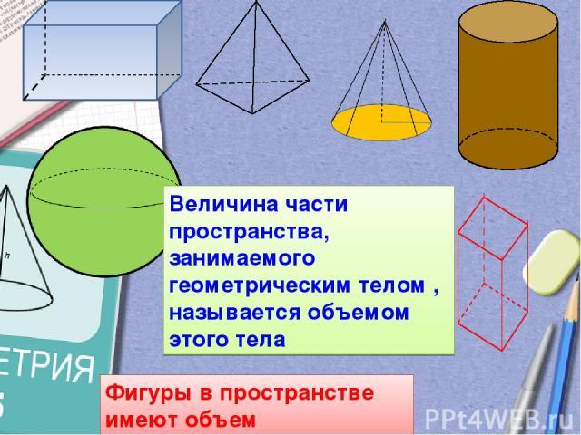 Фигуры в пространстве имеют объем Величина части пространства, занимаемого геометрическим телом , называется объемом этого тела