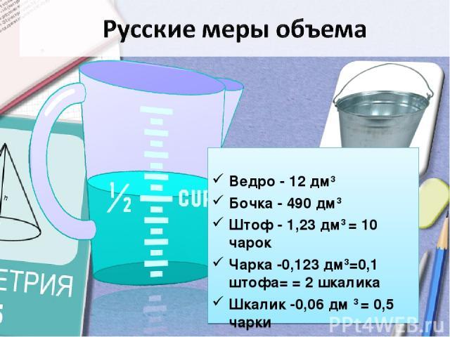 Ведро - 12 дм3 Бочка - 490 дм3 Штоф - 1,23 дм3 = 10 чарок Чарка -0,123 дм3=0,1 штофа= = 2 шкалика Шкалик -0,06 дм 3 = 0,5 чарки