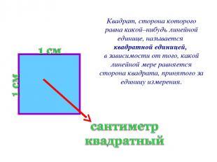 Квадрат, сторона которого равна какой–нибудь линейной единице, называется квадра