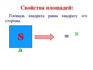 Свойства площадей: Площадь квадрата равна квадрату его стороны.