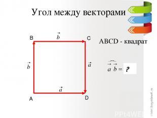Угол между векторами D С В А ABCD - квадрат ? a b b a