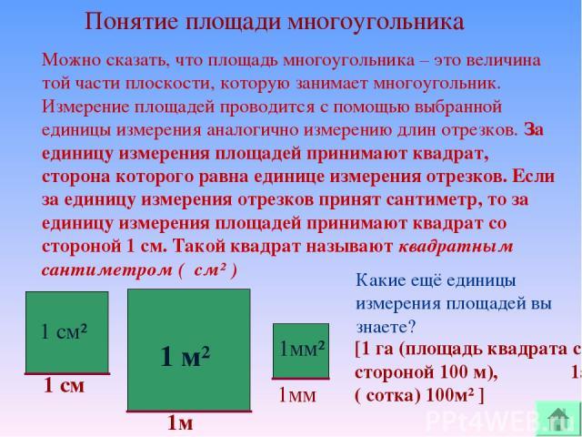 Можно сказать, что площадь многоугольника – это величина той части плоскости, которую занимает многоугольник. Измерение площадей проводится с помощью выбранной единицы измерения аналогично измерению длин отрезков. За единицу измерения площадей прини…