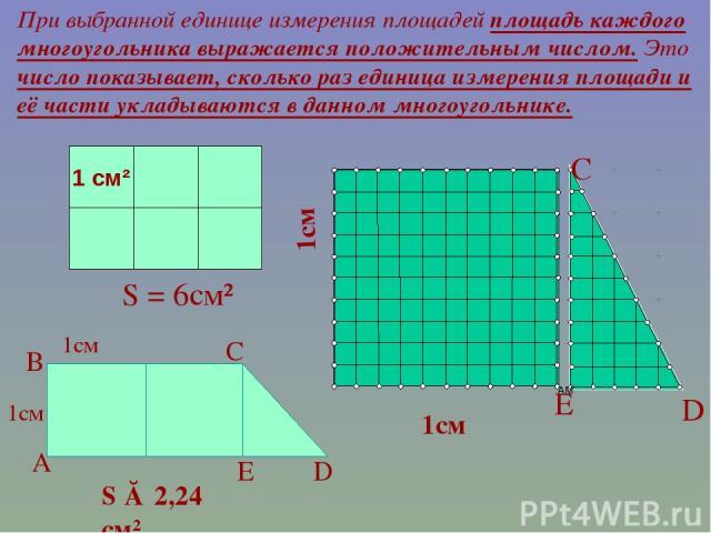 1см При выбранной единице измерения площадей площадь каждого многоугольника выражается положительным числом. Это число показывает, сколько раз единица измерения площади и её части укладываются в данном многоугольнике. S = 6см² 1 см² 1см S ≈ 2,24 см²