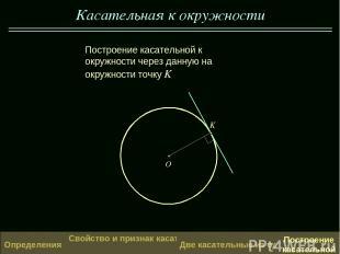 Касательная к окружности K O Построение касательной к окружности через данную на
