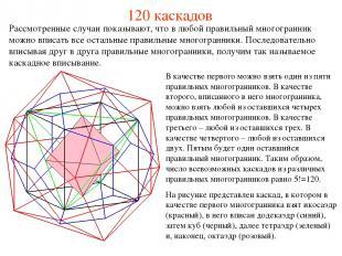 120 каскадов В качестве первого можно взять один из пяти правильных многогранник