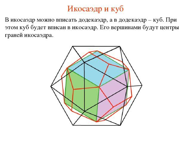 Икосаэдр и куб В икосаэдр можно вписать додекаэдр, а в додекаэдр – куб. При этом куб будет вписан в икосаэдр. Его вершинами будут центры граней икосаэдра.