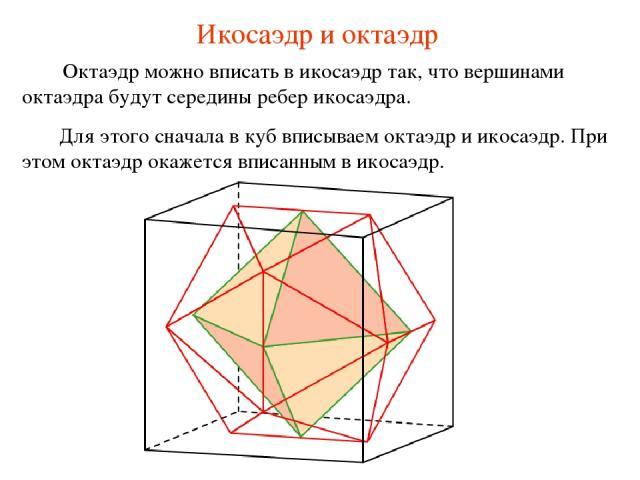 Икосаэдр и октаэдр Октаэдр можно вписать в икосаэдр так, что вершинами октаэдра будут середины ребер икосаэдра. Для этого сначала в куб вписываем октаэдр и икосаэдр. При этом октаэдр окажется вписанным в икосаэдр.