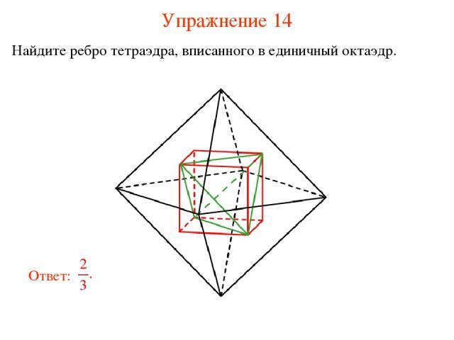 Упражнение 14 Найдите ребро тетраэдра, вписанного в единичный октаэдр.