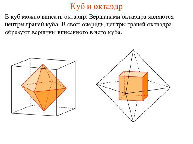 Куб и октаэдр В куб можно вписать октаэдр. Вершинами октаэдра являются центры граней куба. В свою очередь, центры граней октаэдра образуют вершины вписанного в него куба.