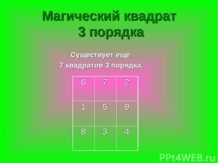 Магический квадрат 3 порядка Существует ещё 7 квадратов 3 порядка.