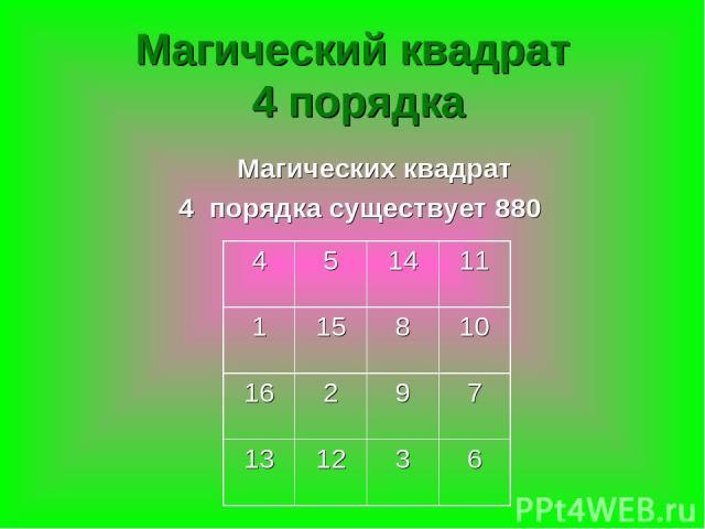 Магический квадрат 4 порядка Магических квадрат 4 порядка существует 880