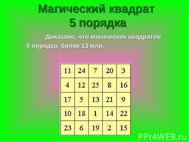 Магический квадрат 5 порядка Доказано, что магических квадратов 5 порядка более 13 млн.