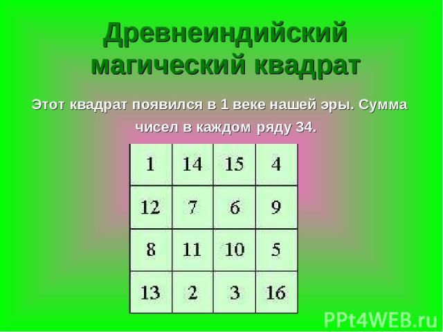 Древнеиндийский магический квадрат Этот квадрат появился в 1 веке нашей эры. Сумма чисел в каждом ряду 34.