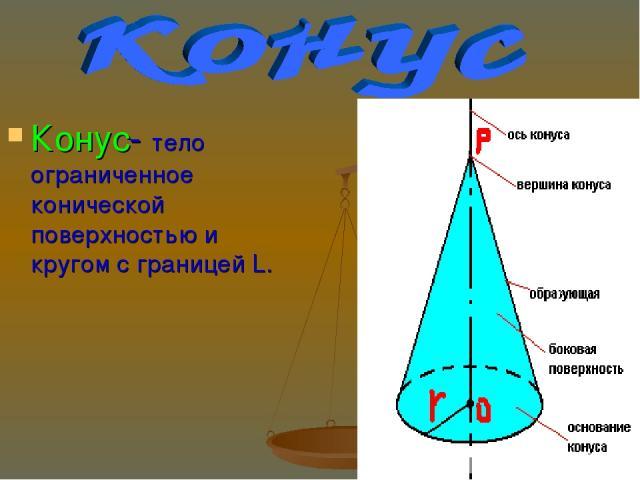 Конус- тело ограниченное конической поверхностью и кругом с границей L.