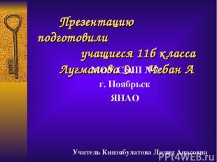Презентацию подготовили учащиеся 11б класса Лугманова Э. Чебан А МОУ СОШ №7 г. Н