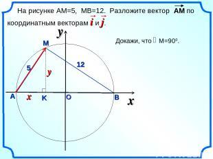 О x А В M 12 5 На рисунке АМ=5, МВ=12. Разложите вектор АМ по координатным векто