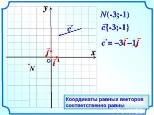 О 1 N(-3;-1) x y Координаты равных векторов соответственно равны