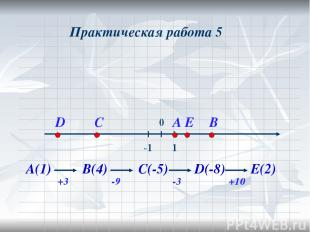 Практическая работа 5 А(1) +3 В(4) -9 С(-5) -3 D(-8) +10 Е(2)