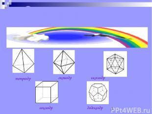 Существует пять типов правильных многогранников тетраэдр октаэдр икосаэдр гексаэ