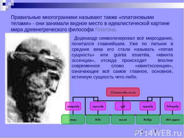 Правильные многогранники называют также «платоновыми телами» - они занимали видное место в идеалистической картине мира древнегреческого философа Платона. Додекаэдр символизировал всё мироздание, почитался главнейшим. Уже по латыни в средние века ег…