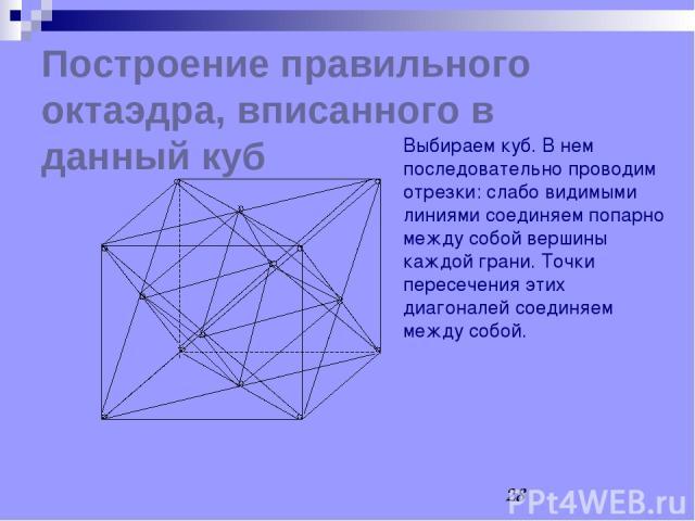 Построение правильного октаэдра, вписанного в данный куб Выбираем куб. В нем последовательно проводим отрезки: слабо видимыми линиями соединяем попарно между собой вершины каждой грани. Точки пересечения этих диагоналей соединяем между собой.