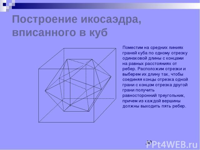 Построение икосаэдра, вписанного в куб Поместим на средних линиях граней куба по одному отрезку одинаковой длины с концами на равных расстояниях от ребер. Расположим отрезки и выберем их длину так, чтобы соединяя концы отрезка одной грани с концом о…