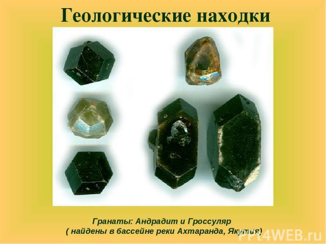 Геологические находки Гранаты: Андрадит и Гроссуляр ( найдены в бассейне реки Ахтаранда, Якутия)