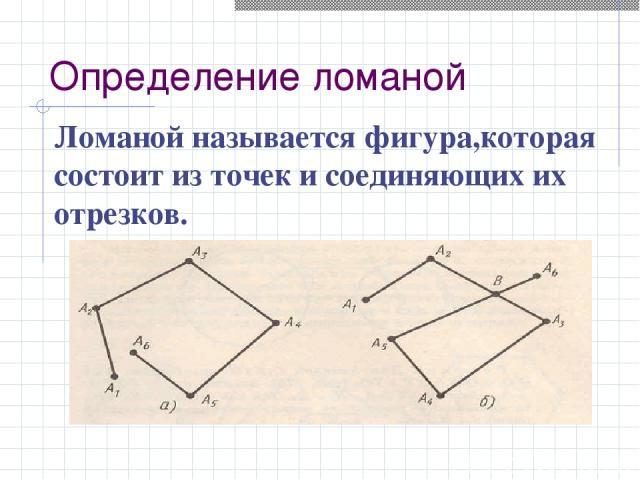 Определение ломаной Ломаной называется фигура,которая состоит из точек и соединяющих их отрезков.