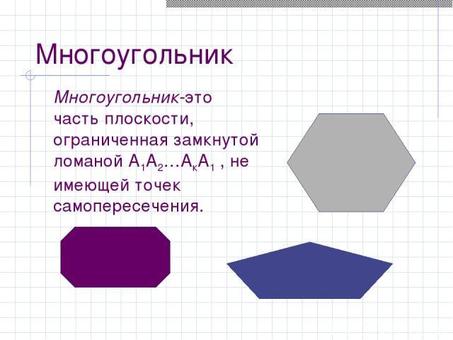 Многоугольник Многоугольник-это часть плоскости, ограниченная замкнутой ломаной А1А2…АкА1 , не имеющей точек самопересечения.