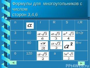 Формулы для многоугольников с числом сторон 3,4,6 n r R S r,R 3 60 R=2r 4 90 R=r