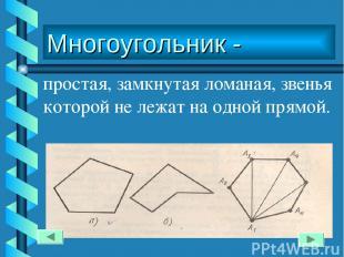 Многоугольник - простая, замкнутая ломаная, звенья которой не лежат на одной пря