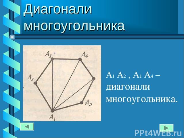 Диагонали многоугольника А1 А2 , А1 А4 – диагонали многоугольника.