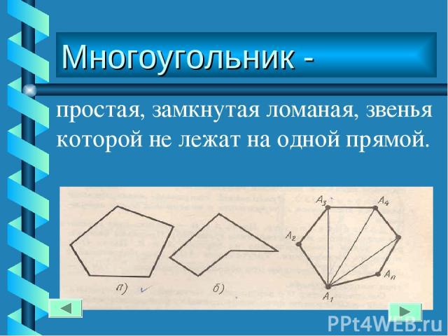 Многоугольник - простая, замкнутая ломаная, звенья которой не лежат на одной прямой.