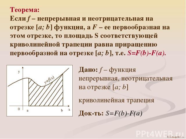 Теорема: Если f – непрерывная и неотрицательная на отрезке [a; b] функция, а F – ее первообразная на этом отрезке, то площадь S соответствующей криволинейной трапеции равна приращению первообразной на отрезке [a; b], т.е. S=F(b)-F(a). Дано: f – функ…