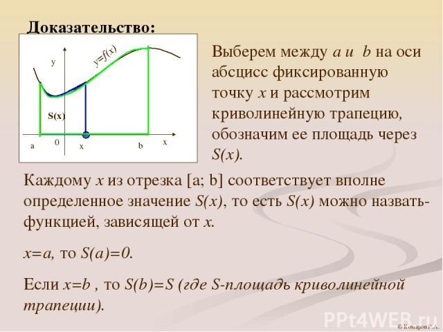 Доказательство: Выберем между a и b на оси абсцисс фиксированную точку х и рассмотрим криволинейную трапецию, обозначим ее площадь через S(x). Каждому х из отрезка [a; b] соответствует вполне определенное значение S(x), то есть S(x) можно назвать- ф…