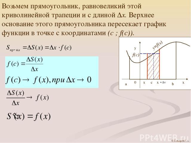 Возьмем прямоугольник, равновеликий этой криволинейной трапеции и с длиной ∆х. Верхнее основание этого прямоугольника пересекает график функции в точке с координатами (с ; f(c)). © Комаров Р.А.
