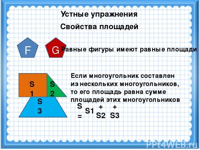 Устные упражнения Свойства площадей F G Равные фигуры имеют равные площади S1 S2 S3 Если многоугольник составлен из нескольких многоугольников, то его площадь равна сумме площадей этих многоугольников S1 + S2 + S3 S =