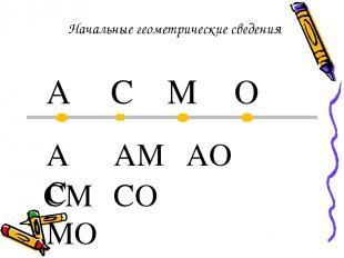 Начальные геометрические сведения A C M O AC AM AO CM CO MO