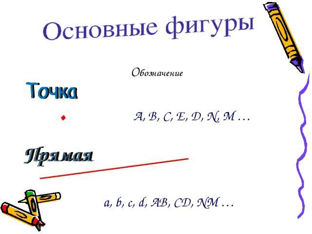 Обозначение . А, В, С, Е, D, N, M … . a, b, c, d, AB, CD, NM …
