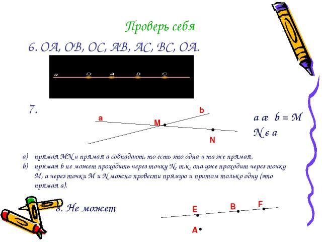 Проверь себя 6. ОА, ОВ, ОС, АВ, АС, ВС, ОА. 7. М a b •N • a ∩ b = М N є a прямая МN и прямая a совпадают, то есть это одна и та же прямая. прямая b не может проходить через точку N, т.к. она уже проходит через точку M, а через точки М и N можно пров…