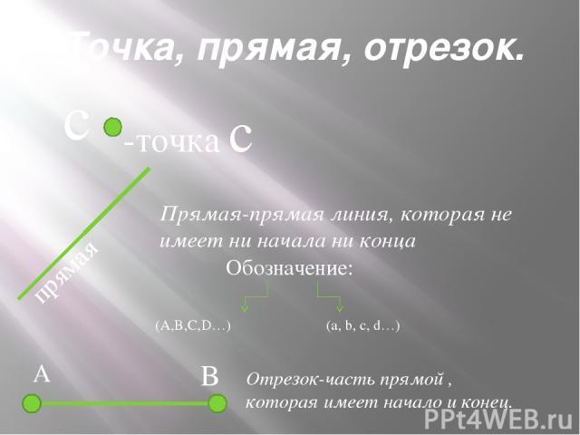 Свойство прямой. B A Через любые две точки можно провести прямую и, притом, только одну