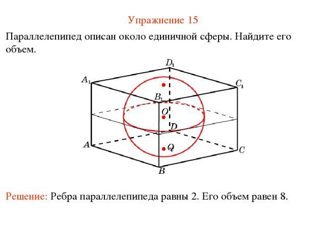 Упражнение 15 Параллелепипед описан около единичной сферы. Найдите его объем.