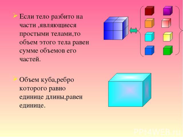 Если тело разбито на части ,являющиеся простыми телами,то объем этого тела равен сумме объемов его частей. Объем куба,ребро которого равно единице длины,равен единице.