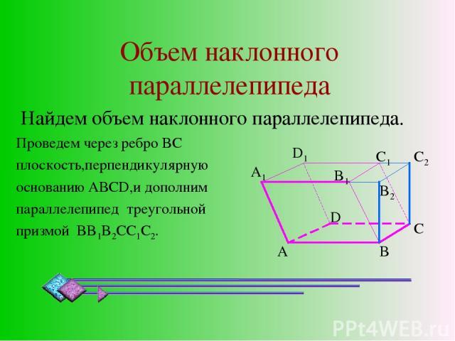 Объем наклонного параллелепипеда Найдем объем наклонного параллелепипеда. Проведем через ребро BC плоскость,перпендикулярную основанию АВСD,и дополним параллелепипед треугольной призмой BB1B2CC1C2. A B D A1 D1 C B1 B2 C2 C1