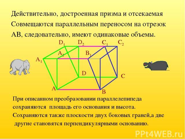 Действительно, достроенная призма и отсекаемая Совмещаются параллельным переносом на отрезок AB, следовательно, имеют одинаковые объемы. При описанном преобразовании параллелепипеда сохраняются площадь его основания и высота. Сохраняются также плоск…