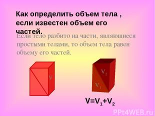 Если тело разбито на части, являющиеся простыми телами, то объем тела равен объе