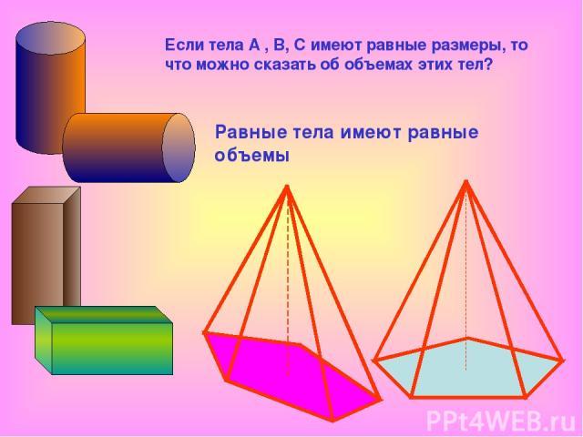 Равные тела имеют равные объемы Если тела А , В, С имеют равные размеры, то что можно сказать об объемах этих тел?