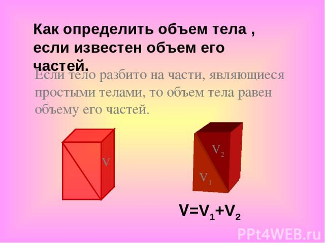 Если тело разбито на части, являющиеся простыми телами, то объем тела равен объему его частей. V=V1+V2 V1 V2 V Как определить объем тела , если известен объем его частей.