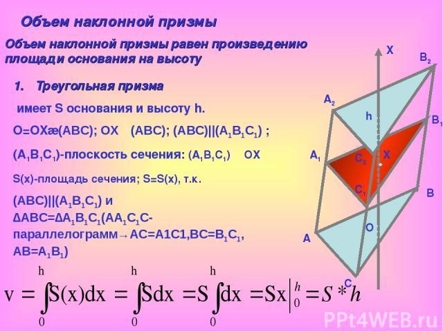 A A1 A2 B B1 B2 C C1 C2 O X h X Объем наклонной призмы Объем наклонной призмы равен произведению площади основания на высоту Треугольная призма имеет S основания и высоту h. O=OX∩(АВС); OXᅩ(АВС); (АВС)||(А1В1С1) ; (А1В1С1)-плоскость сечения: (А1В1С1…