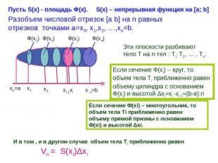 Ф(х1) Ф(х2) Ф(хi) Ф(хn) хо=а х1 х2 хi-1 хi x n=b Пусть S(x) - площадь Ф(х). S(x)